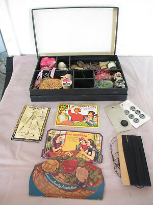 Vintage/Antique Sewing Box with Notions: Buttons, Thread, Needles, Pin Cusion