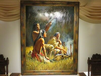"36x48 org. oil painting on board by Kirk Stirnweis of ""Calling back the Buffalo"""