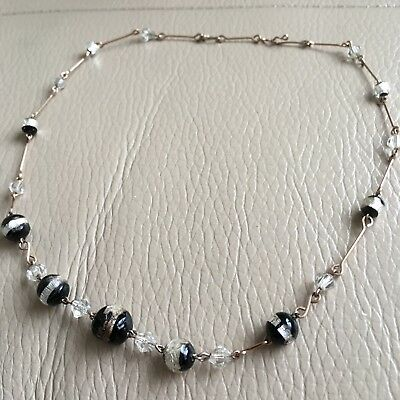 Antique Vintage 1920s Art Deco Black Foil Graded Glass Link Necklace 16 Inches