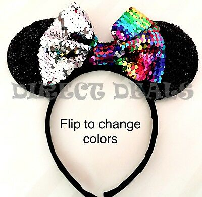 Minnie Mouse Ears Headband Shimmer Black Color Changing Flip Sequin Rainbow Bow
