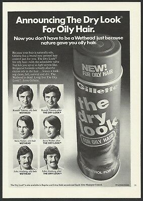 The Dry Look For Oily Hair By Gillette 1973 Vintage Print Ad