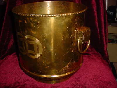 Large  Antique  Hong Kong Brass Bucket Planter  Etched Art & Ring Handles