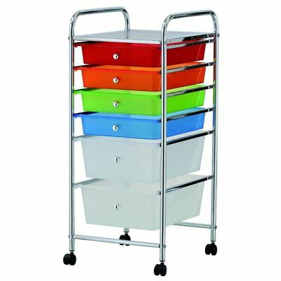 Home Office Chrome 6 Drawer Trolley Storage Portable Cart With Wheels