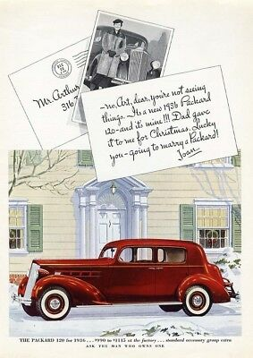 PACKARD Auto Car Ad 1936 Red Four Door 120 White Wall Tires