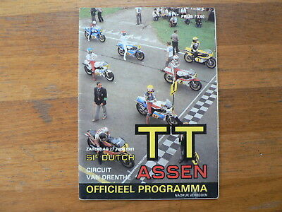 1981 Dutch Tt Assen Programme. Grand Prix,moto Gp,picture Ekerold,roberts,man Cs