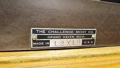 "Challenge Machinery Co.Cast Iron Machinist Inspection Surface Plate 12"" x 18""USA"