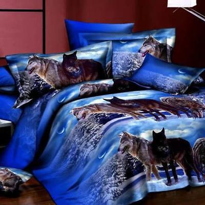 Thee 3D Animal Quilt cover 4pcs set copripiumino letto Queen, wolf 2, Queen