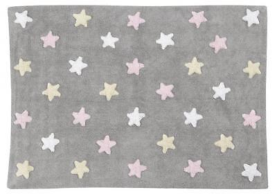 Lorena Canals C-ST-P Tricolor Stars Grey – Pink Washable Rug, Rosa
