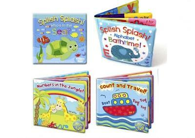 Set of 4 Baby Bath Books | First Words ABC Letters & Numbers Plastic Coated...