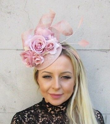 Nude Blush Light Pink Sinamay Rose Flower Feather Hat Fascinator Races Hair 5783