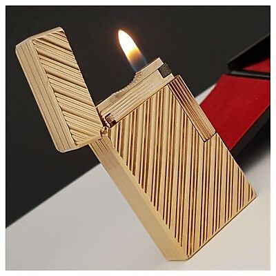 Briquet gaz* St Dupont Paris +box * Diagonal/Gold.Pl-Lighter-Feuerzeug-Accendino