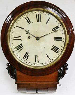 Fusee Antique 8 Day Drop Dial Wall Clock Marquetry Carved Mahogany Wall Clock