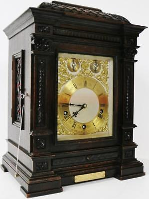 Beautiful Antique Carved Mahogany Lenzkirch Mantle Musical Bracket Clock C1870