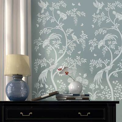 Birds and Berries Chinoiserie Wall Mural Stencil - DIY Asian Garden Decor