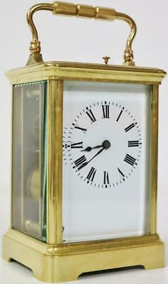 Antique French 8 Day Bronze Carriage Clock Gong Striking Repeat Mantel Clock