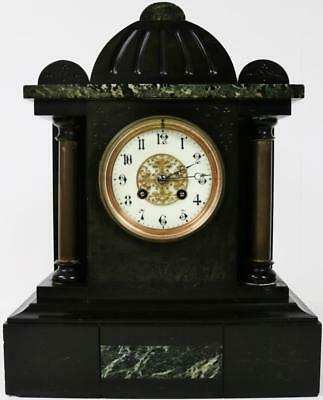 Impressive Antique French Inlaid Polished Slate Marble Striking Mantel Clock