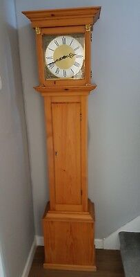 Pine  Brass Face Longcase Grandfather Clock