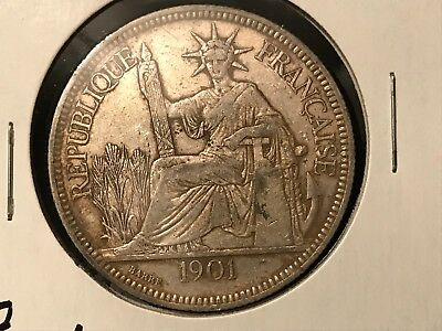 T2: World Coin French Indo-China Piastre, 1901 Free Shipping in U.S.