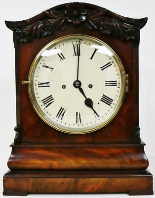 Regency Serpentine 19thC English Twin Fusee Mahogany 8Day Striking Bracket Clock
