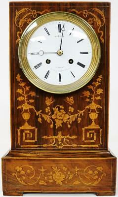 Rare Antique French Officer's Inlaid Rosewood Case Striking Mantel Clock Working