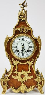 Rare Antique French Burr Walnut & Bronze Rococo Boulle Mantel Clock C1860 Wow