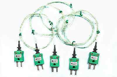 5 x K Type Wire Thermocouple Bead Sensor,Probe PTFE Insulated Max Temp 250°C