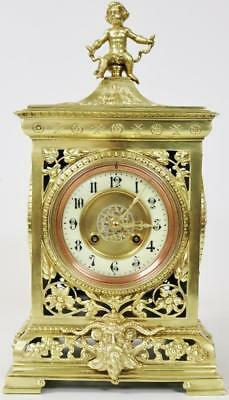 Antique French 8 Day Ornate Pierced Embossed Bronze Ormolu Cube Mantel Clock Wow