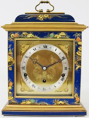 Elliott Antique Blue Chinoiserie Hand Crafted Bracket Mantel Clock Mallory Bath