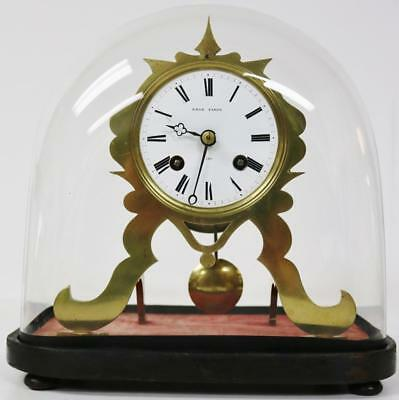 Antique French Miniature Skeleton Striking Mantle Clock & Glass Dome Working Wow