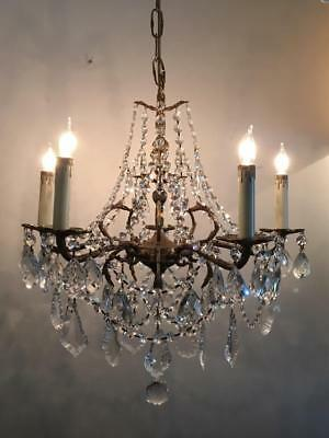 ANTIQUE VTG BRASS PETITE CHANDELIER w FRENCH & CZECH CRYSTALS and CEILING CANOPY