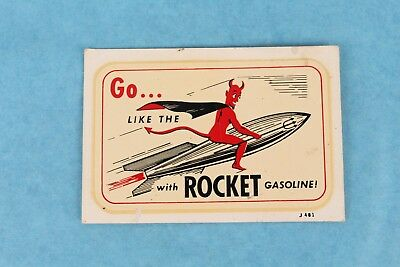 """Vintage """"go Like The Devil With Rocket Gasoline"""" Window Water Decal Oil Sticker"""