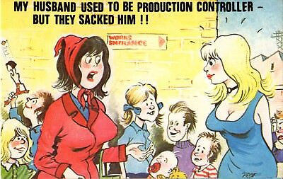 """CARDTOON Series Comic postcard # C45 """"used to be production controller"""" used"""