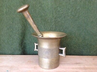 Apothecary Antique 19th Century Brass Mortar and Pestle 2 Handles Set LARGE