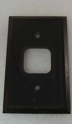 Vtg brown Art Deco ribbed Bakelite square Single toggle Switch plate Cover