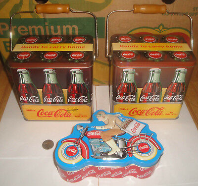 Lot of 3 Coca Cola Coke Metal Tins 6-Pack Box Canisters w/Handle, Motorcycle