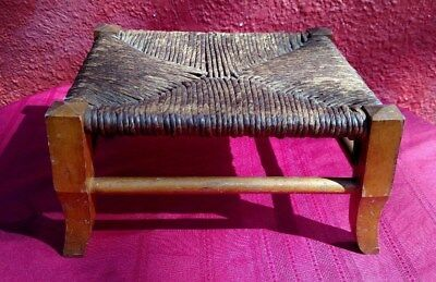 Antique Rattan Wicker Small Ottoman Stool Maple Wood For Repair Furniture ✞