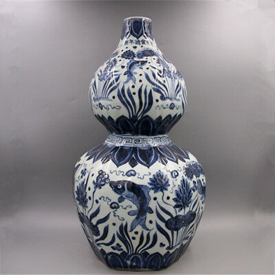 Chinese antique Blue and white Fish algae seabed flowers Porcelain gourd vase