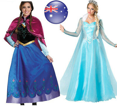 AU Halloween Adult Ladies Deluxe Frozen Queen Elsa Anna Princess Cosplay Costume