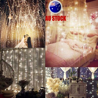 Window Curtain Icicle String Fairy Lights 600 LED Wedding Party Garden Lamps AU