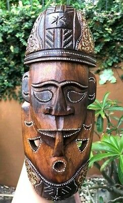 African Pipe Mask Intricate Hand Carved Painted Tiki Chiseled Decor Tribal Wood
