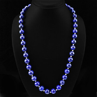 347.50 Cts Earth Mined Blue Sapphire 4 Strand Round Beads Hand Made Necklace