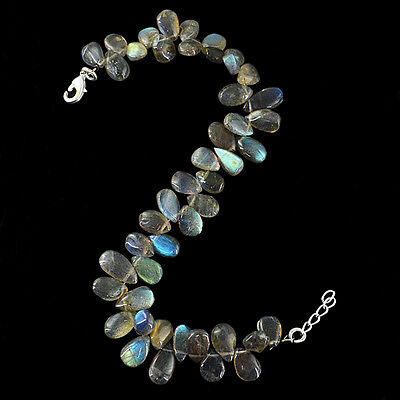 Best Quality Rare 101.00 Cts Natural Blue Labradorite Untreated Beads Bracelet