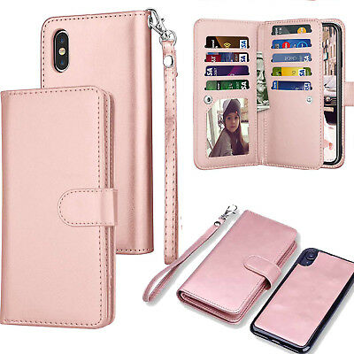 For iPhone X 8 7 Plus Magnetic Leather Removable Wallet Card Case F Women/Girls