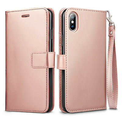 new arrival fc36a 85699 FOR APPLE IPHONE X 7 8 Plus Leather Flip Cover Credit Card Wristlet Wallet  Case