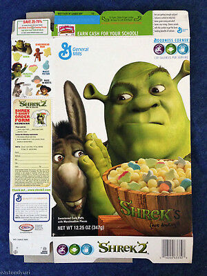 Shrek's (Not Donkey's) Cereal Box [Flattened] Shrek 2 Ltd. Promo - General Mills