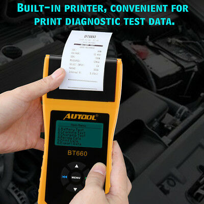 12/24V Digital Automotive Car Battery Tester Cranking Charging Analyzer Printing