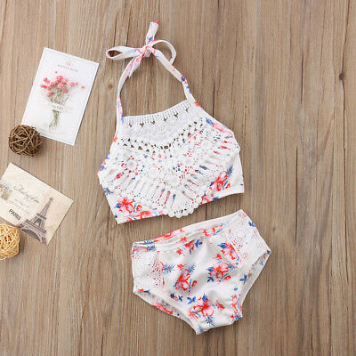 Infant Baby Girl Lace Floral Swimwear Bathing Suit Swimsuit Beachwear Clothes US