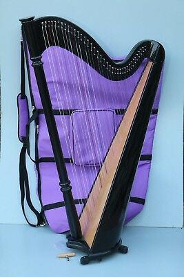 Mikel 38 Strings Lever Harp with Carry Bag, Black Finish - Stock ClearanceSale