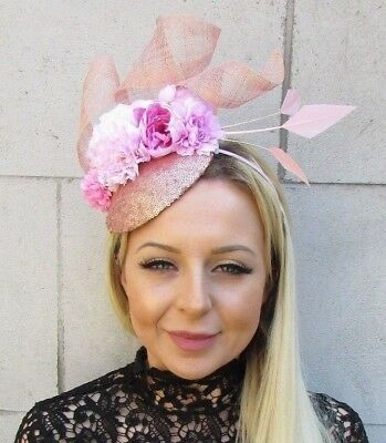 Baby Light Pink Rose Gold Flower Feather Hat Hair Fascinator Races Wedding 5787