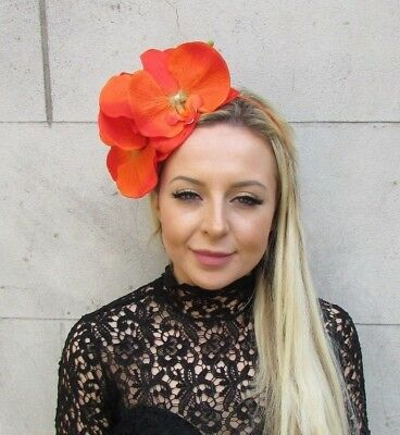 Large Bright Orange Orchid Flower Fascinator Headpiece Headband Races Crown 5788
